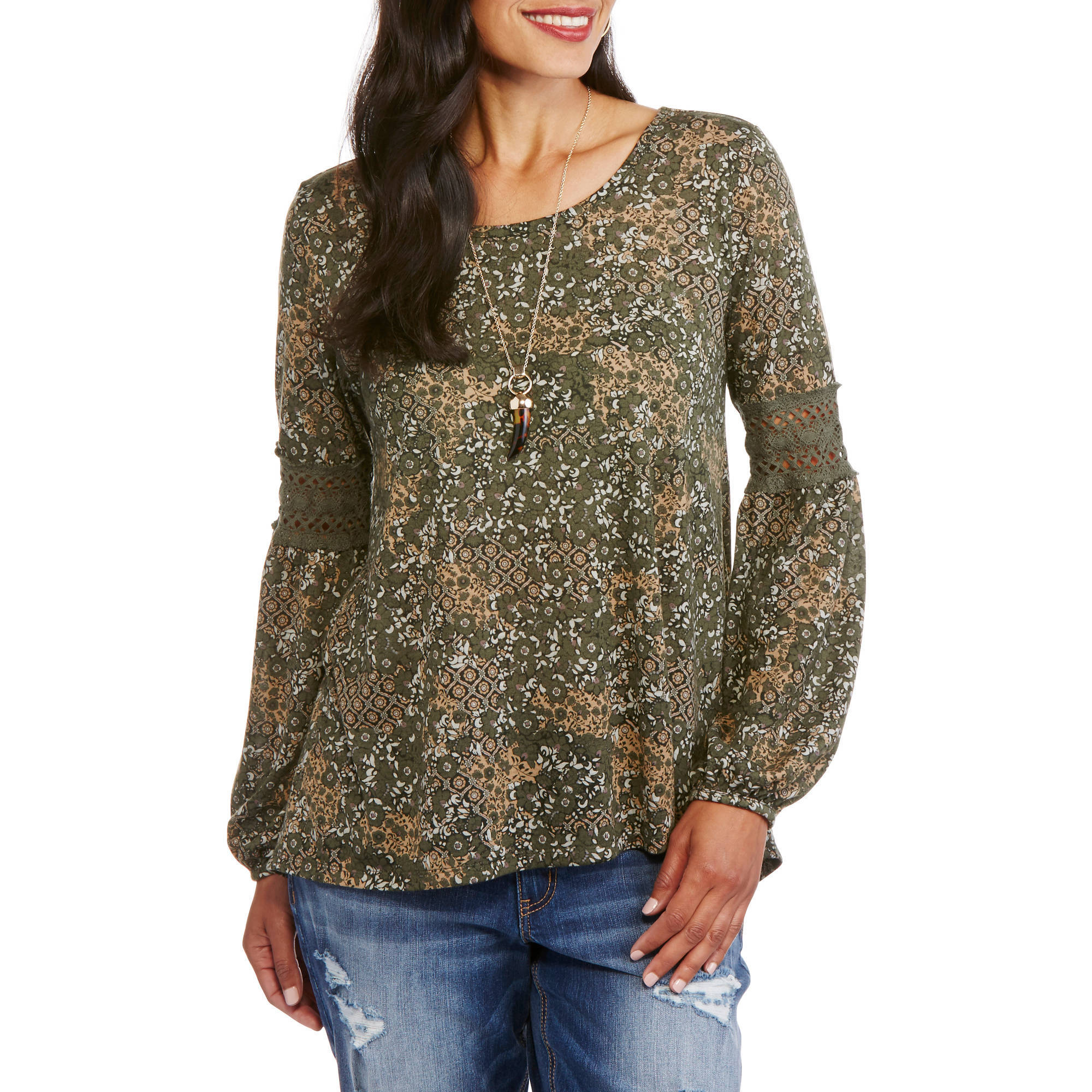Faded Glory Women's Long Sleeve Peasant Top with Lace Detail Bell Sleeves