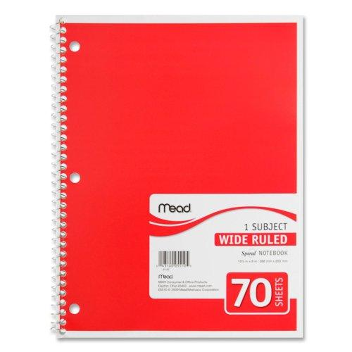 "Mead One Subject Notebook - 70 Sheet - Wide Ruled - 8"" X 10.50"" - 1 Each - White Paper (MEA05510)"