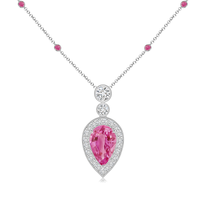 September Birthstone Pendant Necklaces Pear Pink Sapphire Necklace Pendant with Diamond Halo in 950 Platinum (8x5mm Pink... by Angara.com