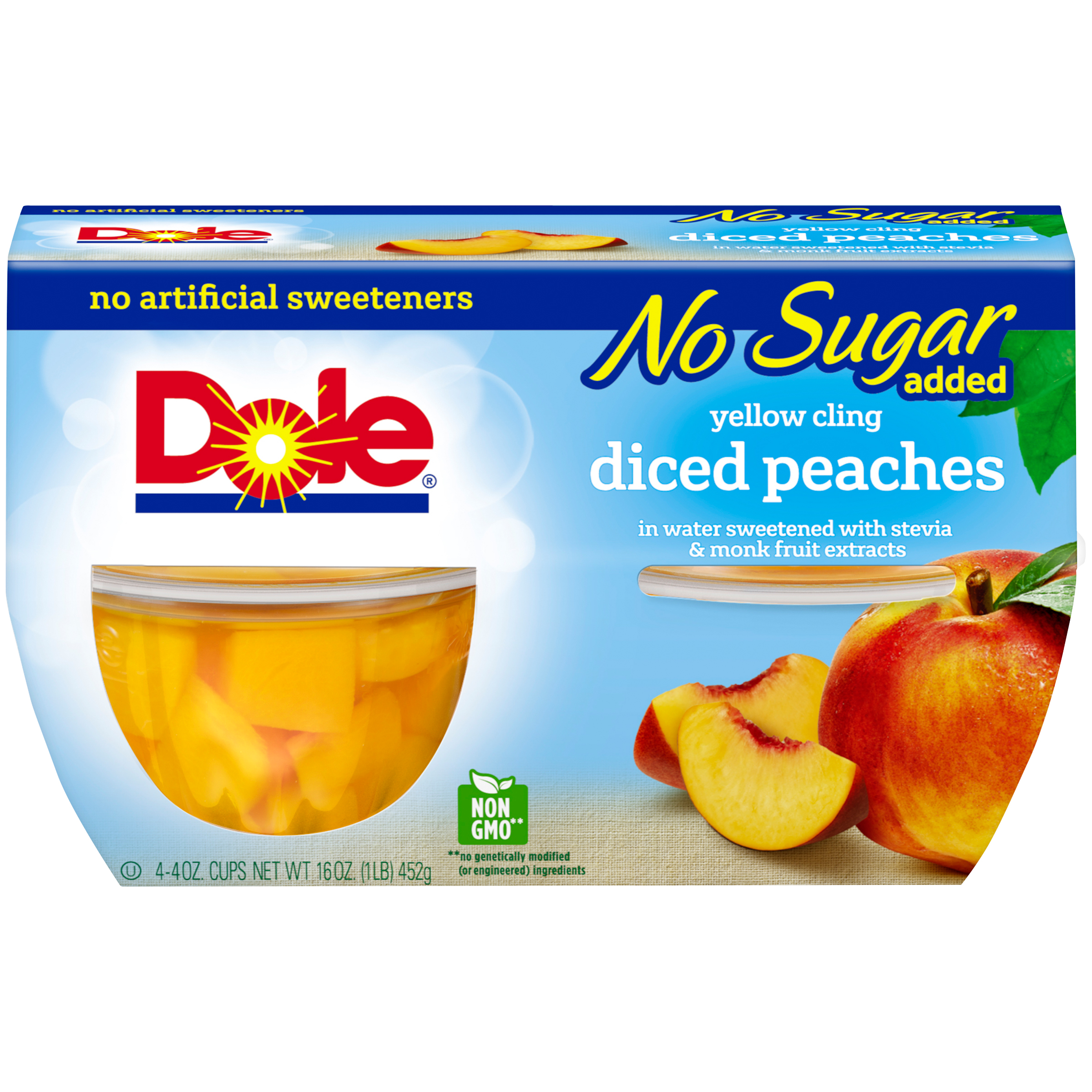 Dole Fruit Bowls, No Sugar Added Yellow Cling Diced Peaches, 4 Ounce (4 Cups)