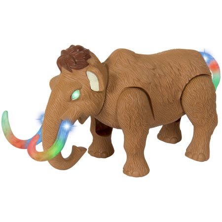 Toy Animal Figurine (Best Choice Products Kids Walking Woolly Mammoth Animal Figurine Toy w/ Light-Up Eyes, Tusks, and Tail, Trumpet Sounds, Realistic Movement)
