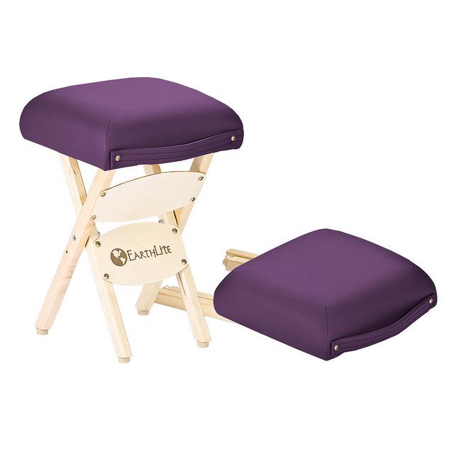 EARTHLITE Massage Therapist Stool - Folding Massage Stool, Hardwood Maple, CFC-Free