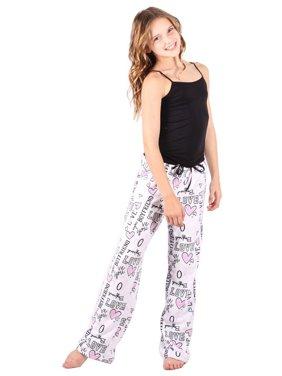 Lori&Jane Juniors Black Pink Letter Heart Print Fleece Pajama Pants