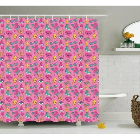 Emoji Shower Curtain Retro Style Comic Book Icons Pattern On Pink Backdrop Girlish Pop Art Fabric Bathroom Set With Hooks Sea Green Yellow