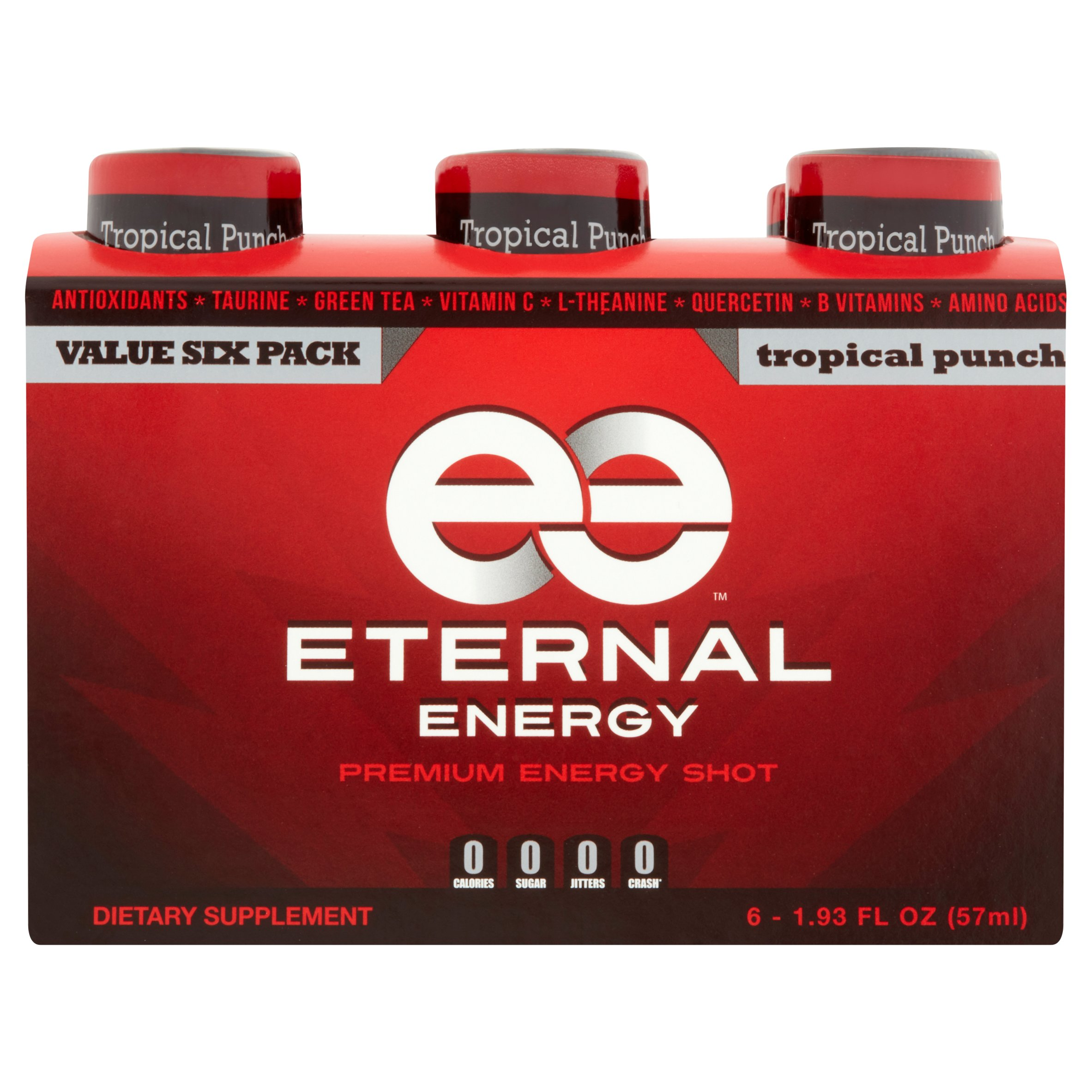 Eternal Energy Premium Energy Shot, Tropical Punch, 1.93 Fl Oz, 6 Ct