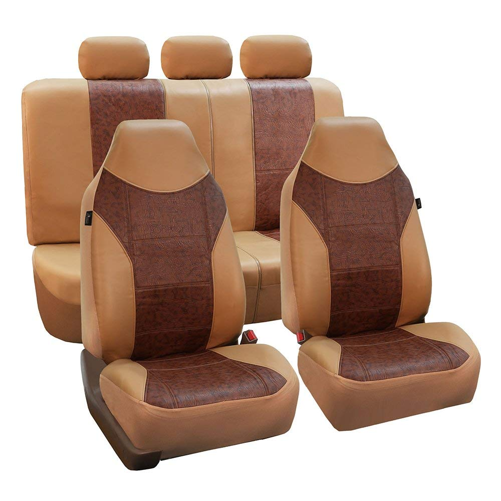 FH Group Beige and Brown Textured Leather Seat Covers, Side Airbag Compatible, with Split Bench Function, Full Set.