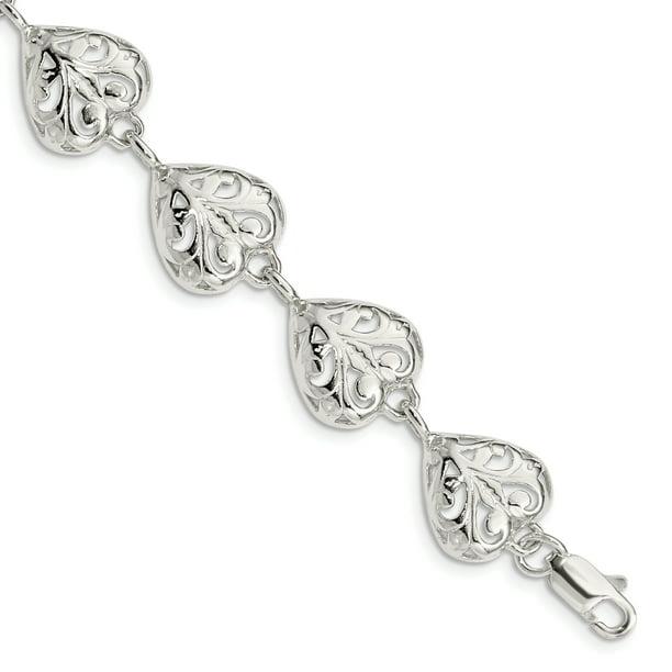 925 Sterling Silver Heart Bracelet 7 Inch /love