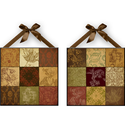"""Fall Patch"" Wall Plaques, Set of 2"