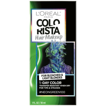 L'Oreal Paris Colorista Hair Makeup 1-Day Hair Color, Neon Green 100 (for blondes), 1 fl. oz.](Neon Green Hair)