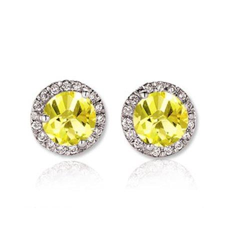 Dazzlingrock Collection 18K Round Yellow Sapphire & White Diamond Ladies Halo Stud Earrings, White Gold