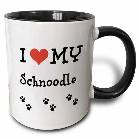 3dRose I Love My - Schnoodle - Two Tone Black Mug, 11-ounce
