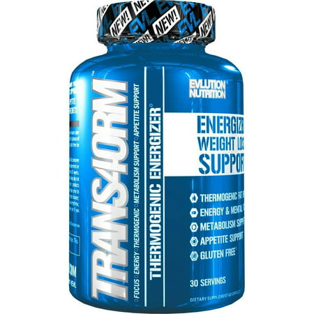 Evlution Nutrition Trans4orm Thermogenic Energizing Fat Burner Weight Loss Pills, Energy and Intense Focus, 30