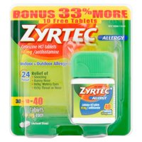 Zyrtec 24 Hour Allergy Relief Tablets, 40 Ct