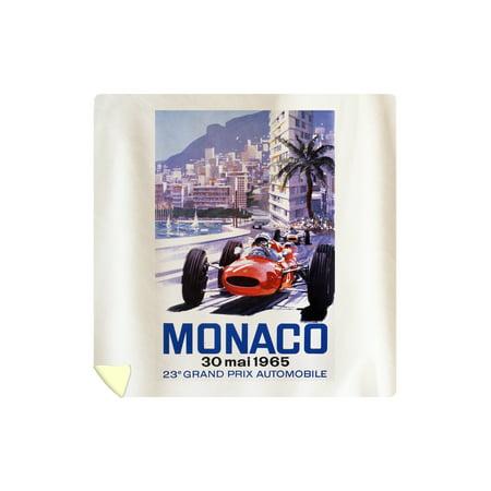 France - Monaco - 23e Grand Prix Automobile - (artist: Turner c. 1965) - Vintage Advertisement (88x88 Queen Microfiber Duvet Cover)