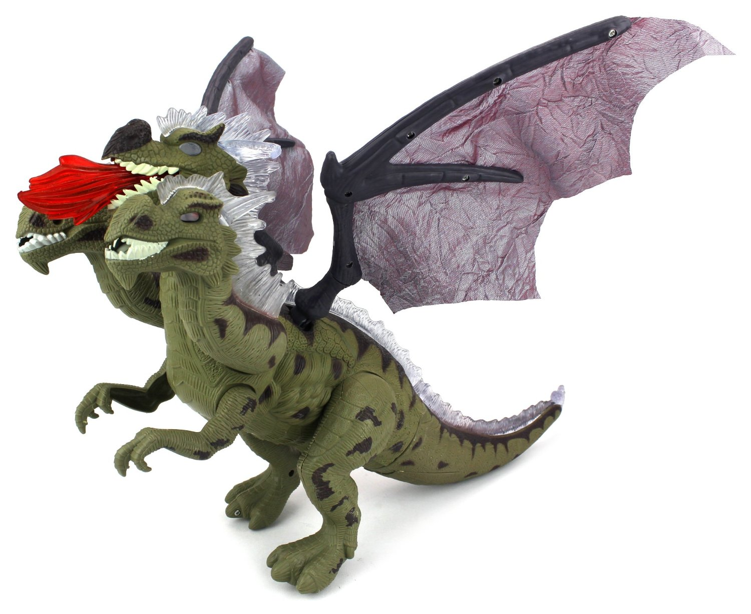 Dino Kingdom Three Headed Dragon Battery Operated Walking Toy Dinosaur Figure w  Realistic Movement, Lights... by Velocity Toys