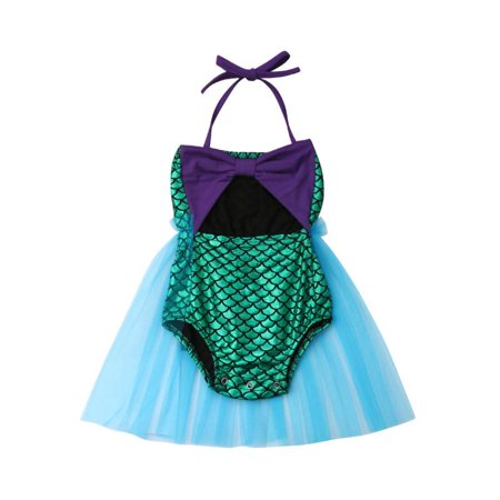 Infant Baby Girls Mermaid Halter Romper Bodysuit Jumpsuit Sunsuit with Tutu Skirt Outfits (Mermaid Infant)