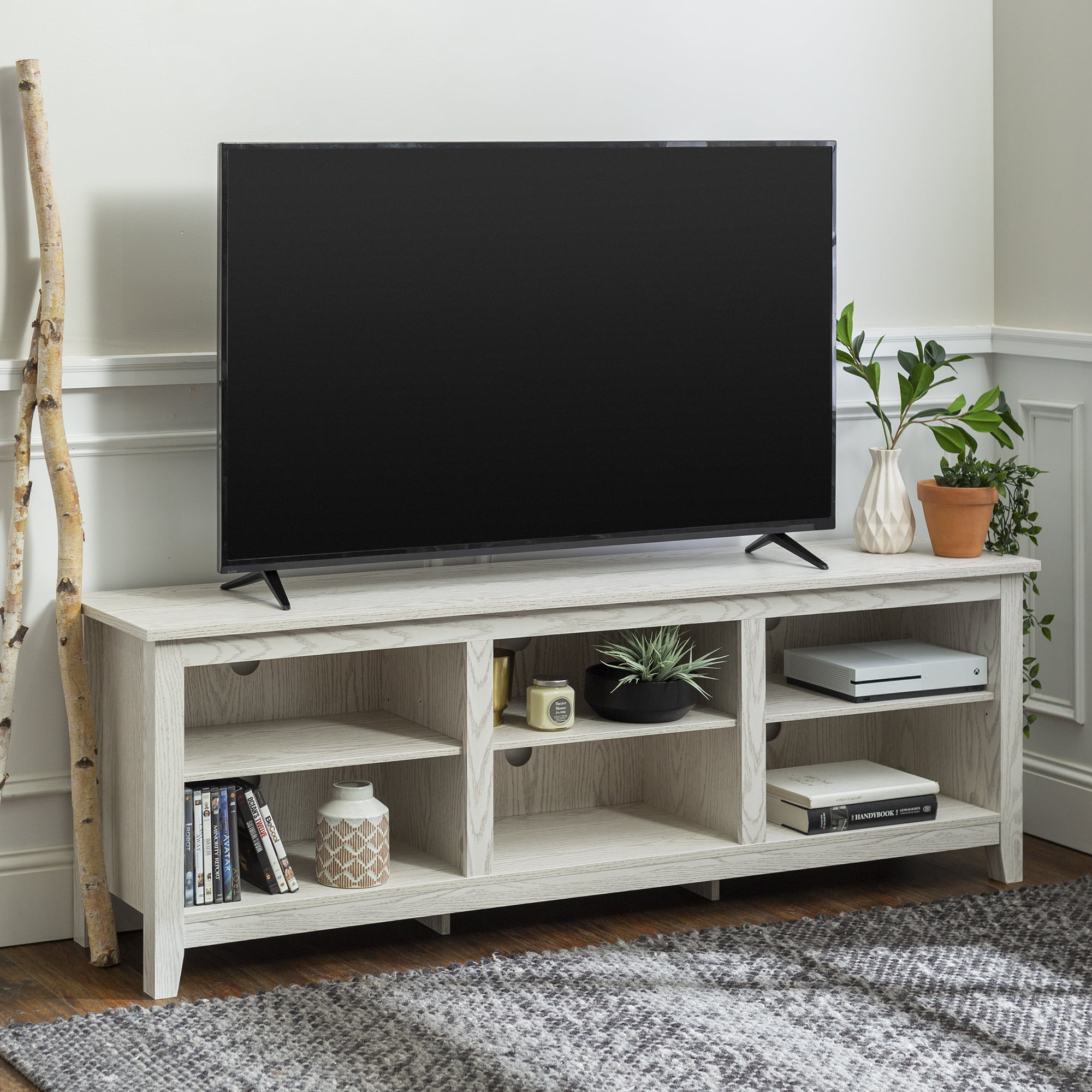 Manor Park Wood Tv Media Storage Stand For Tvs Up To 78 White Wash Walmart Com Walmart Com