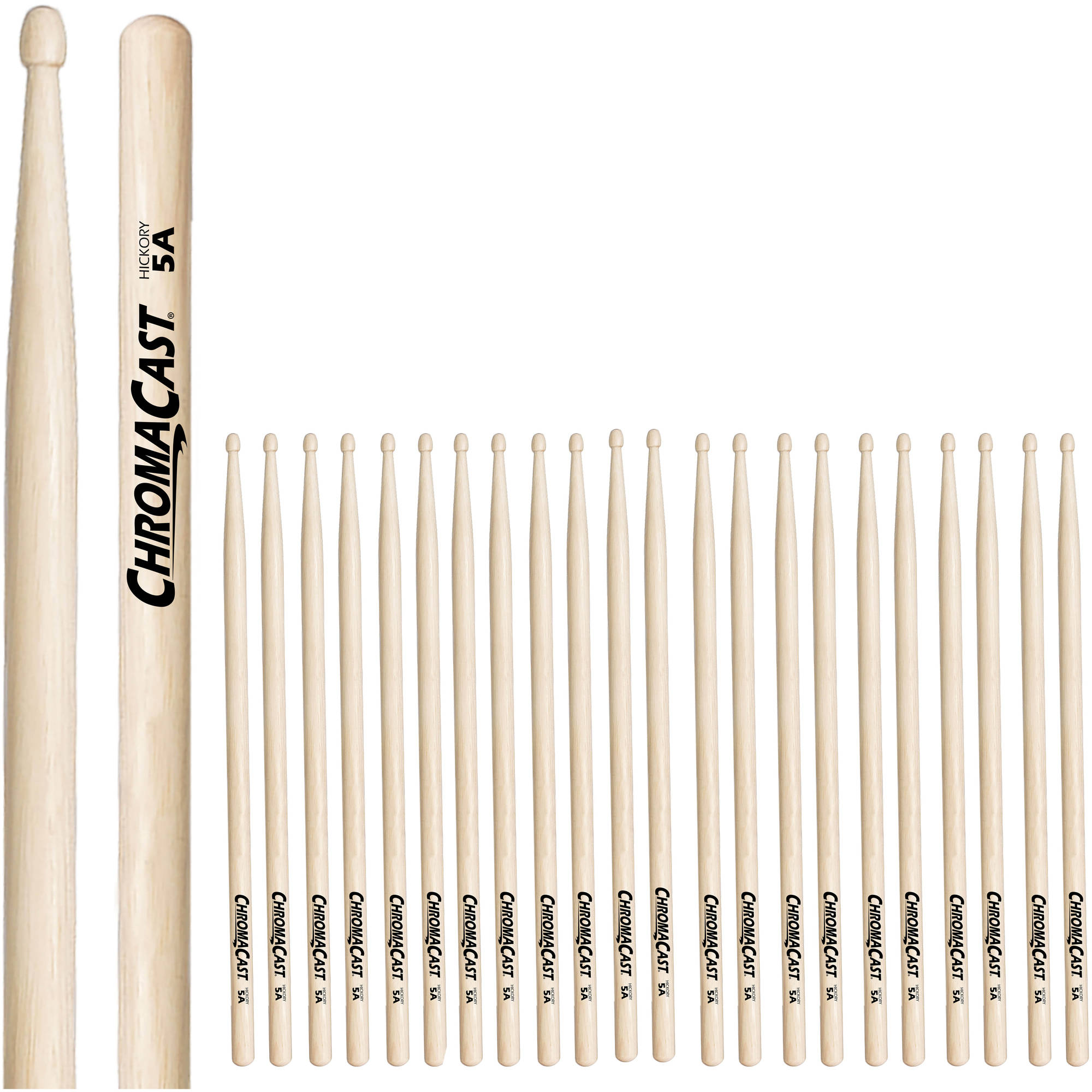 ChromaCast 5A Hickory Drumsticks, 12 Pairs by ChromaCast