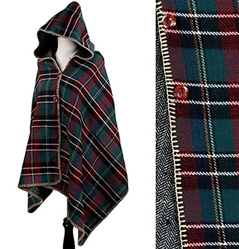 Vintage Plaid Pattern Womens Lightweight Hoodie Poncho Cape (Green) by