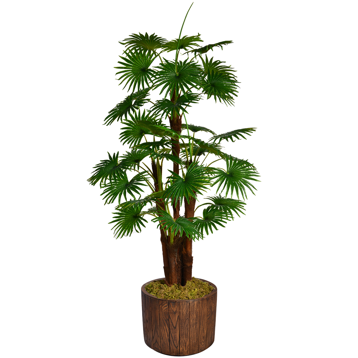 """70.8"""" Tall Fan Palm Tree Artificial Indoor/ Outdoor Décor Faux Burlap Kit and Fiberstone Planter By Minx NY"""