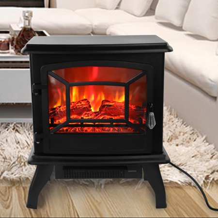 Ktaxon Small Electric Fireplace,Indoor Free Standing Stove Heater Fire Flame Stove Adjustable ()