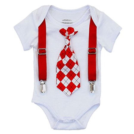 Noah's Boytique Baby Boys Valentines Day Outfit with Red and Black Argyle Tie and Red Suspenders 12-18 Months - Toddler Boy Valentine Outfit