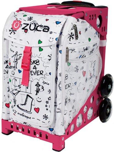 Zuca Sport SK8 Insert Bag (White w  Skate Doodles) & Pink Frame by ZUCA