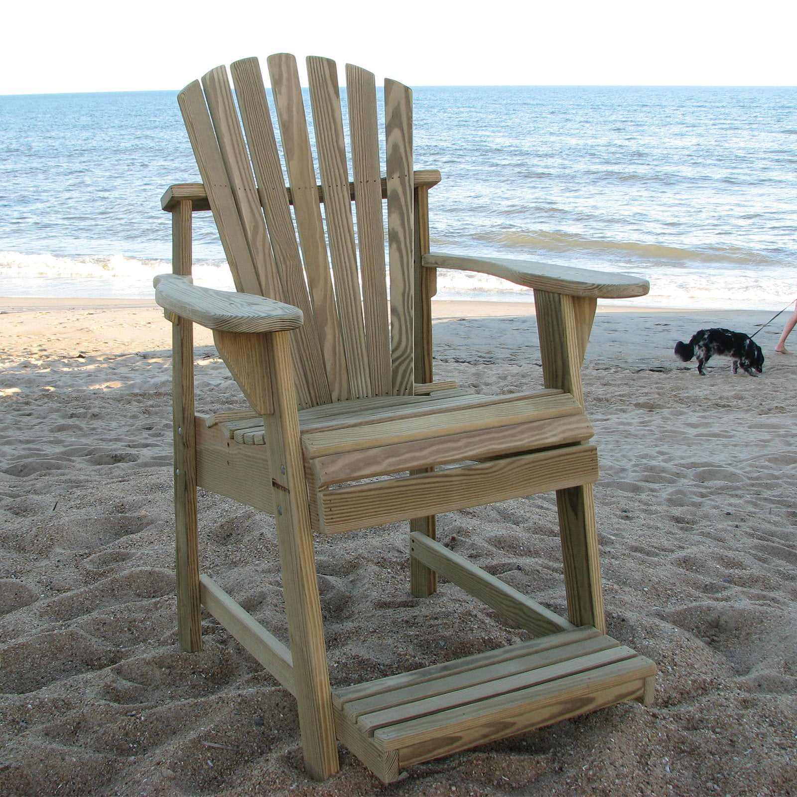 Charming Weathercraft Designers Choice Treated Balcony Adirondack Chair With  Footrest   Natural   Walmart.com