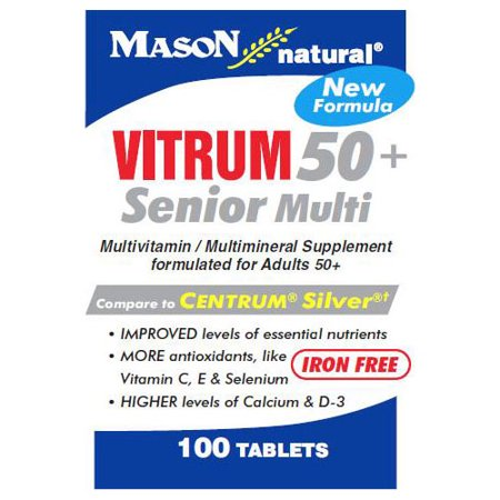 Mason Natural Vitrim 50 Plus Senior Multivitamin And Multimineral Supplement Tablets, Compare To Centrum Silver - 100 - Senior Formula 100 Tablets