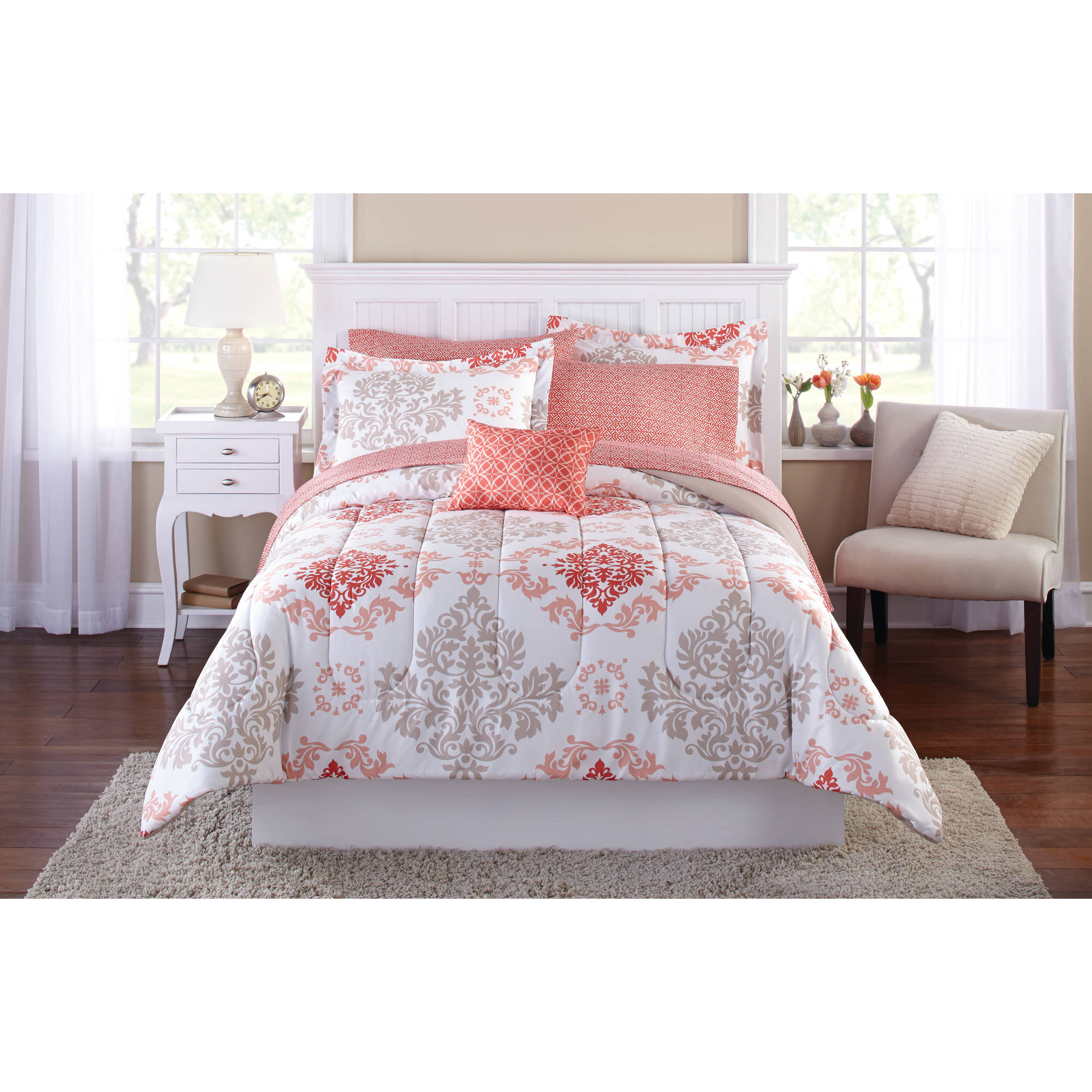 Mainstays Coral Damask Bed In A Bag Bedding Set   Walmart.com