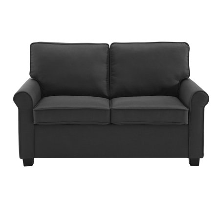 Mainstays Traditional Loveseat Sleeper w/ Memory Foam Mattress - Black