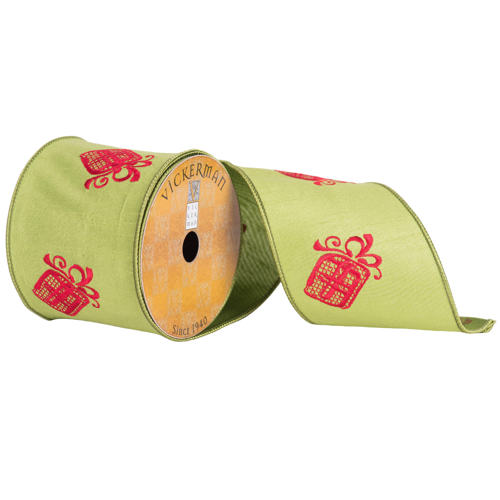 "4"" x 10yd Green Red Embroider Gift Box"