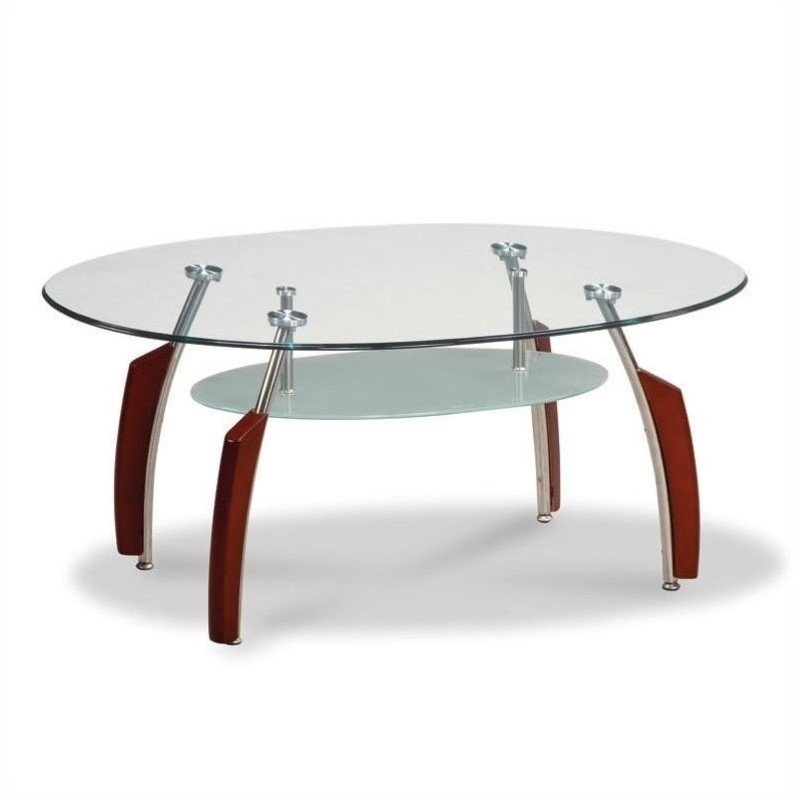 Global Furniture Glass End Table With Wenge Curved Base