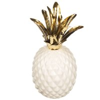 Better Homes & Gardens Decorative Ceramic Pineapple, White and Gold