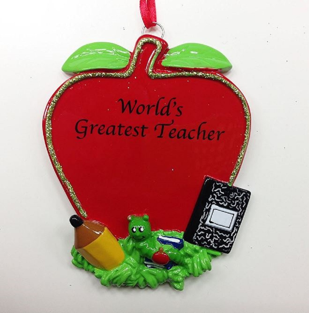 Worlds Greatest Teacher Apple Christmas Tree Ornament Decoration New Teaching