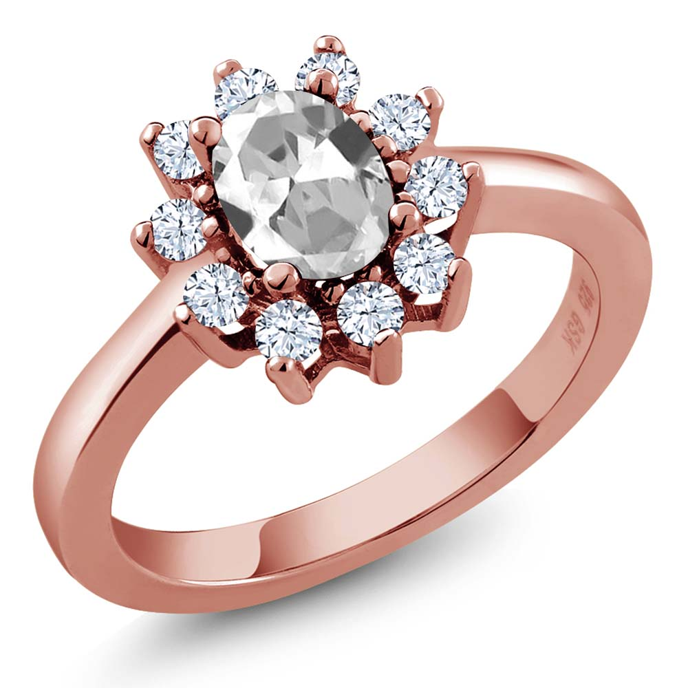 1.35 Ct Oval White Topaz Rose Gold Plated Sterling Silver Ring