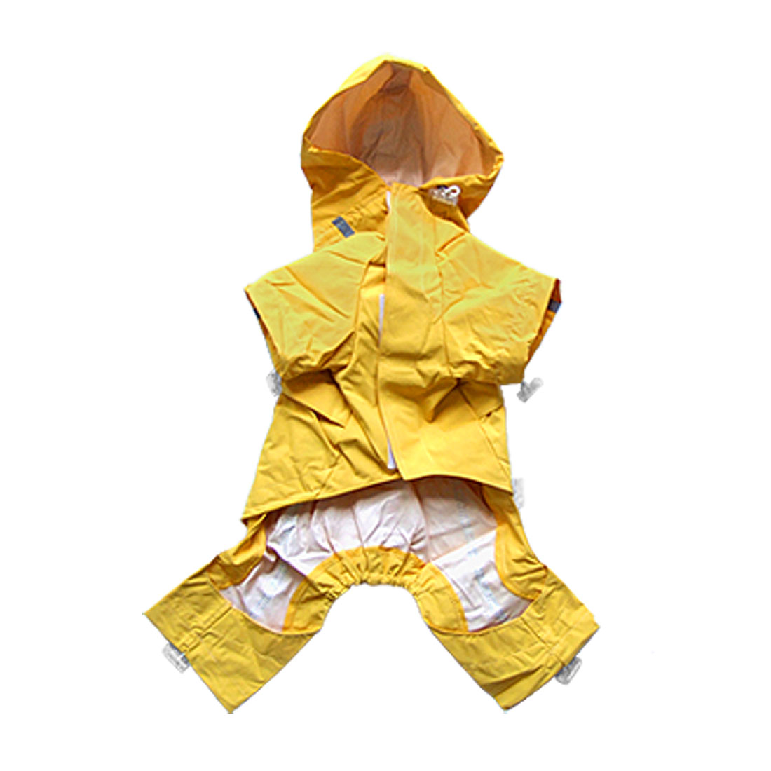 Yellow Cute Puppy Dog Cat Reflective Raincoat Waterproof Coat Apparel Size 2