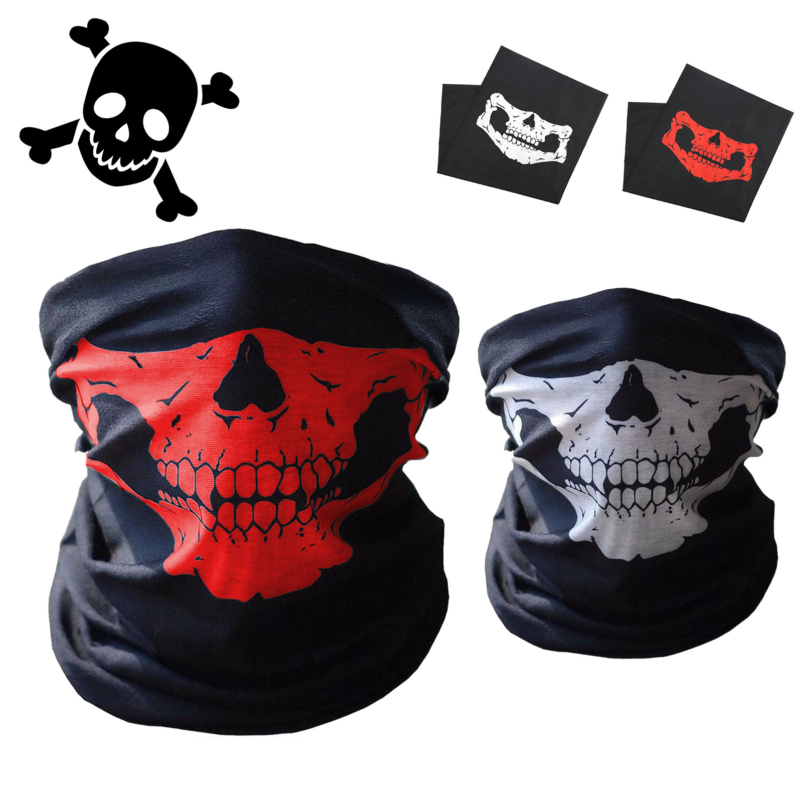 Eeekit Couples Seamless Skull Face Tube Mask Skull Neck Tube Face