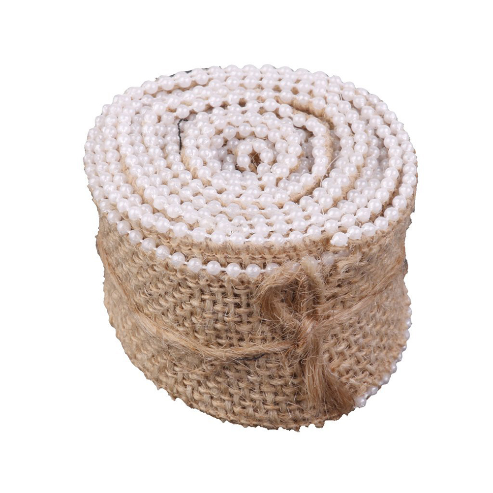 2M*3.5CM Pearl Beaded Burlap Ribbon for DIY Crafts Home Wedding Decoration (Brown)