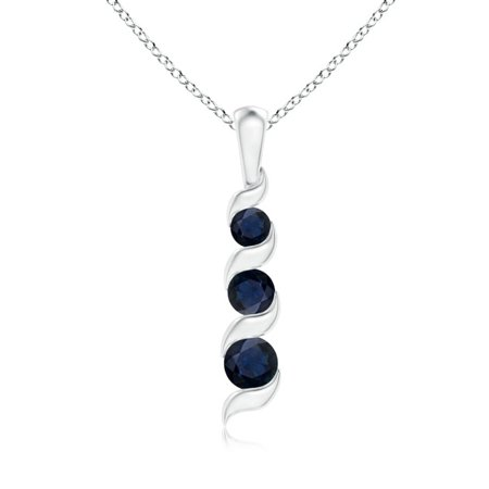 Journey Necklace Set - September Birthstone Necklace - Channel-Set Round Sapphire Three Stone Journey Pendant in 14K White Gold (4mm Blue Sapphire) - SP1087S-WG-A-4