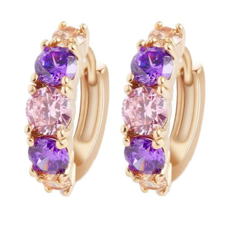 Women Hypoallergenic Crystal Ear Studs Rhinestone Hoop Buckle Earrings