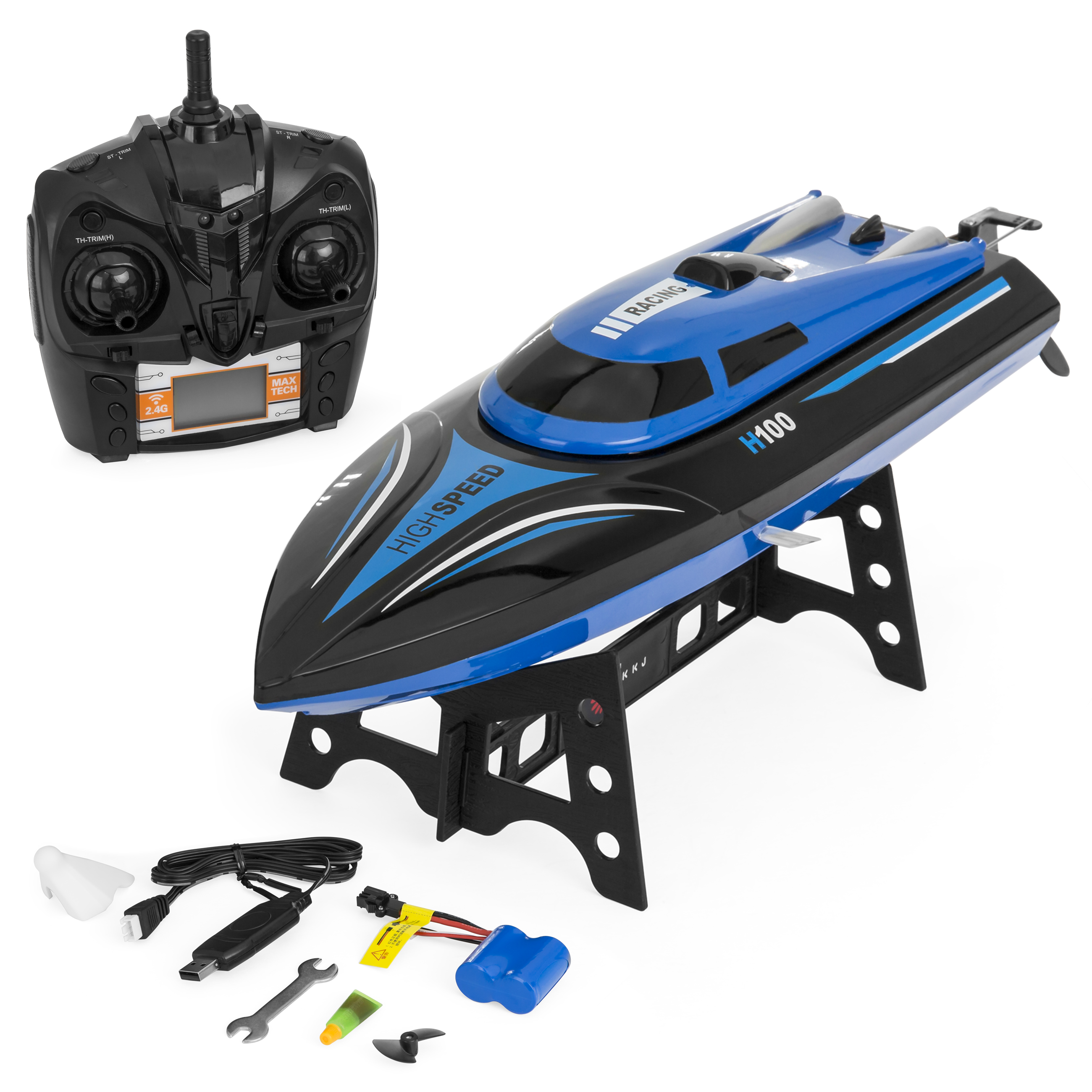 Best Choice Products H100 4-Channel 2.4GHz Remote Control High Speed Racing RC Boat w/ Rechargeable Batteries - Blue