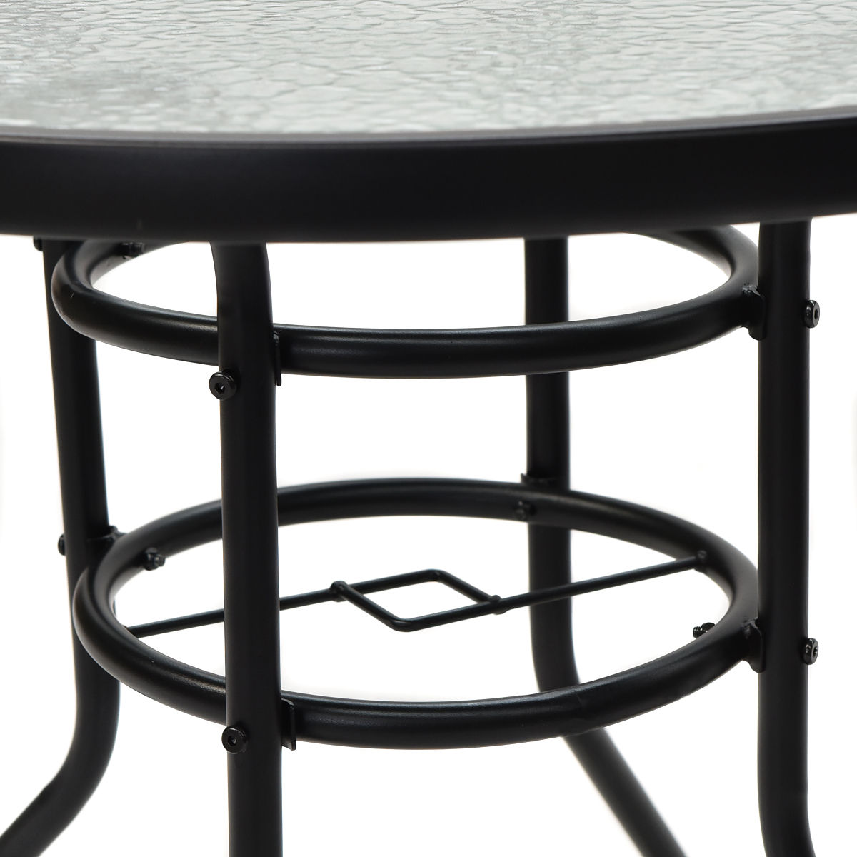 31.5'' Patio Round Table Tempered Glass Steel Frame Outdoor Pool Yard - image 3 de 7