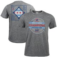 Men's Majestic Threads Heather Gray Chicago Cubs 2016 World Series Champions Toast Champs Roster T-Shirt