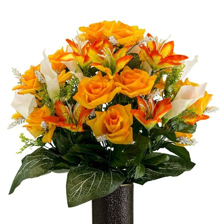 Orange Rose and Sunset Tiger Lily mix, Artificial Bouquet, featuring the Stay-In-The-Vase Design(c) Flower Holder (MD2071)