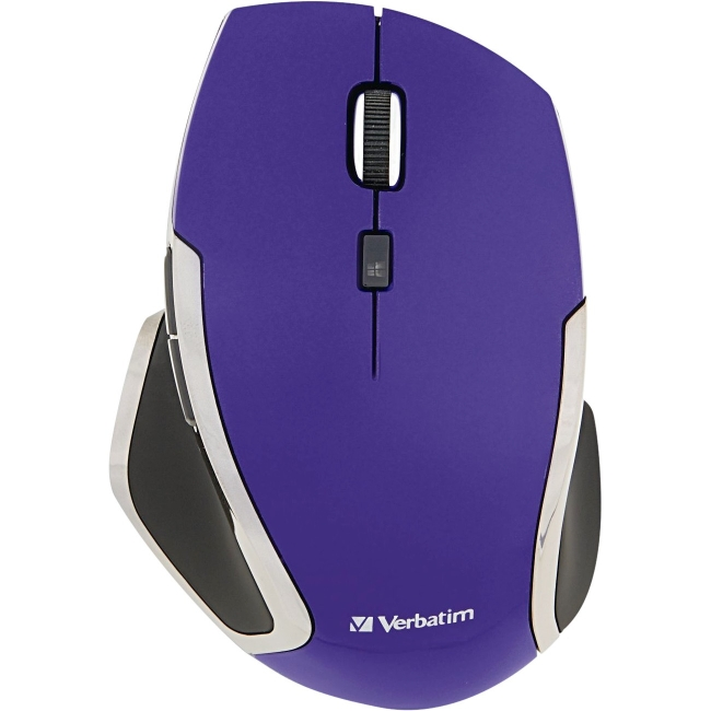 Verbatim Wireless Laptop 6-Button Deluxe LED Mouse, Purple