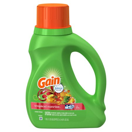 Gain + Aroma Boost Liquid Laundry Detergent with Febreze Freshness, Tropical Sunrise, 25 Loads 40 fl (Best Baby Detergent And Fabric Softener)