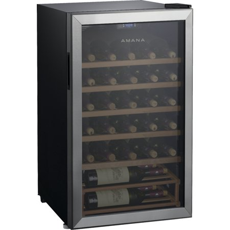 Amana 35 Bottle Wine Cooler with Wood Shelves and Electrical Temperature Control
