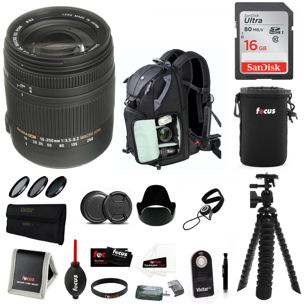 Sigma 18-250mm f/3.5-6.3 Lens for Canon EF w/ DSLR Backpa...