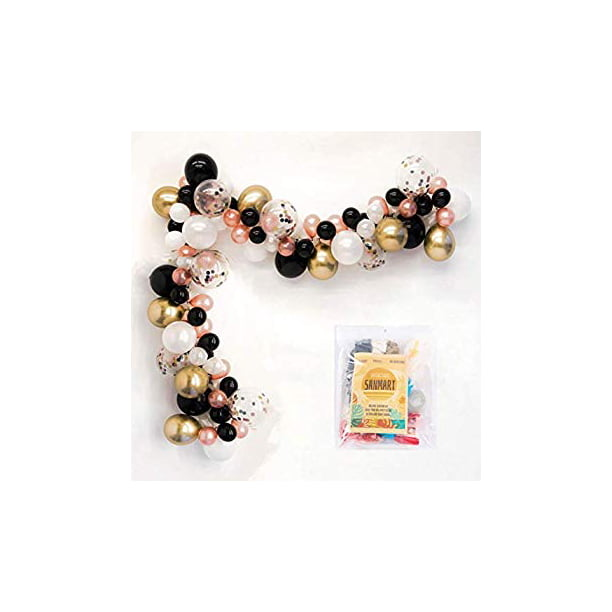 Rose Gold Balloon Arch Garland Kit Pink Black White Gold Confetti Balloons Decorations For Party Graduations Retirement Girl Birthday Wedding Bridal Shower With Decorating Strip Glue Dots Pump Walmart Com